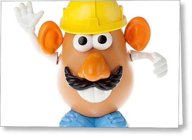 Making Toys Greeting Cards - Mr. Potato Head - Construction Worker Frontal Greeting Card by Eldad Carin