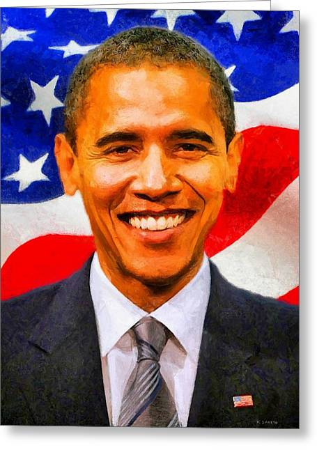Barack Greeting Cards - Mr. President Greeting Card by Kai Saarto