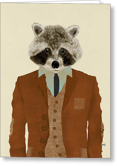 Raccoon Digital Art Greeting Cards - Mr Raccoon Greeting Card by Bri Buckley