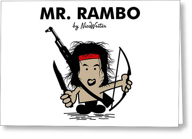 Stallone Digital Art Greeting Cards - Mr Rambo Greeting Card by NicoWriter