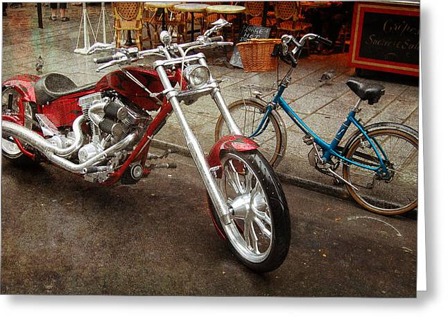 Motorcycles Pyrography Greeting Cards - Mr. Red and Mrs. Blue Greeting Card by Christo Christov