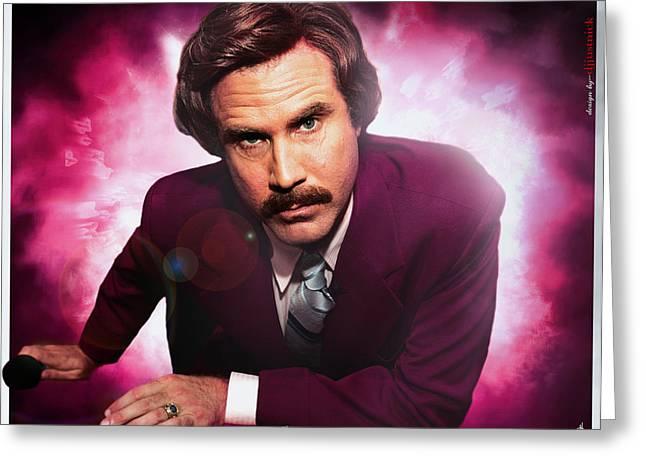 Jordan Hill Greeting Cards - Mr. Ron Mr. Ron Burgundy from Anchorman Greeting Card by Nicholas  Grunas