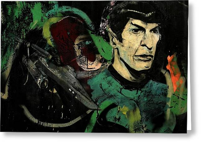 Enterprise Greeting Cards - Mr Spock in Urban Mural Greeting Card by Chris Berry