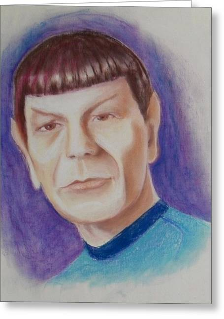 Enterprise Paintings Greeting Cards - Mr Spock Greeting Card by Karen Roncari