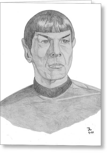 Spock Drawings Greeting Cards - Mr. Spock Greeting Card by Thomas J Herring