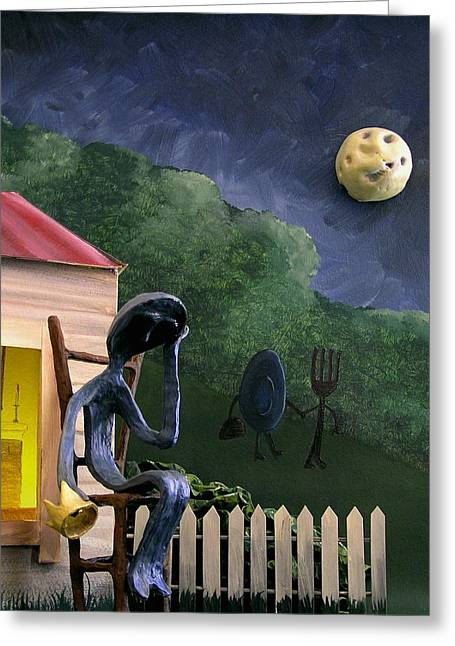 Nursery Rhyme Mixed Media Greeting Cards - Mr. Spoon Greeting Card by Jennifer Montgomery