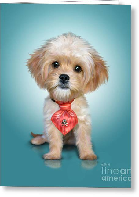 Puppies Mixed Media Greeting Cards - Mr. Toby Waffles the Cavapoo Greeting Card by Catia Cho