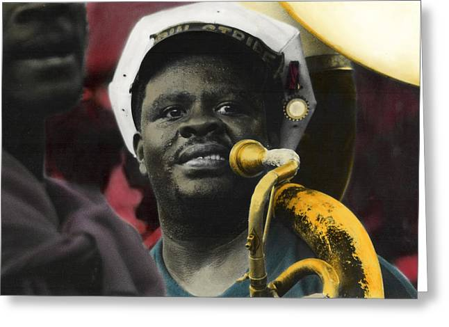 Marching Band Mixed Media Greeting Cards - Mr Tuba Man Greeting Card by Ulf Sandstrom