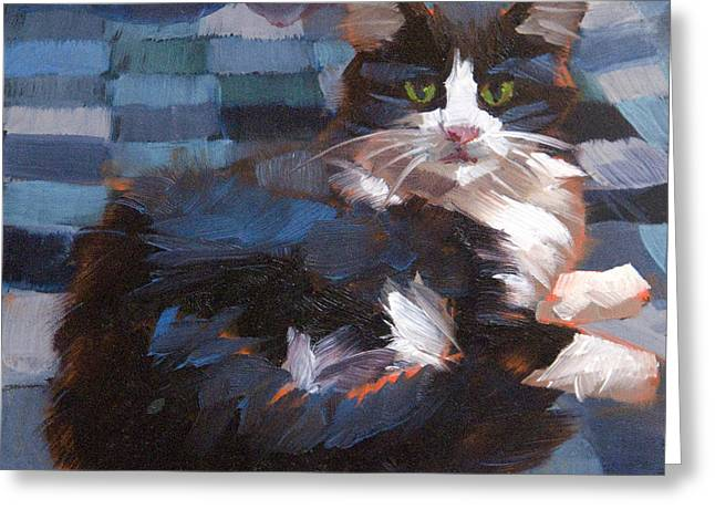 Bedspread Greeting Cards - Mr. Tuxedo Greeting Card by Alice Leggett