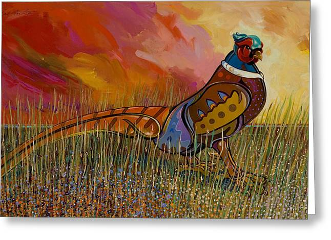 Fauvist Wildlife Art Greeting Cards - Mr. Tuxedo Greeting Card by Bob Coonts