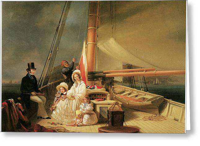 Nicholas Paintings Greeting Cards - Mr Ward and his Family on Board his Cutter Guerrilla Greeting Card by Nicholas Matthew Condy
