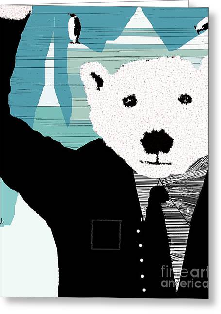 Winter Prints Mixed Media Greeting Cards - Mr White Greeting Card by Bri Buckley