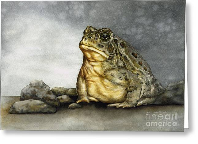 Mr. Woodhouse Toad Greeting Card by Nan Wright