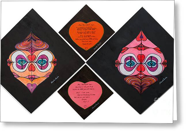 Face Tapestries - Textiles Greeting Cards - Mr.and Mrs. Heartfelt Together Greeting Card by Blanch Paulin