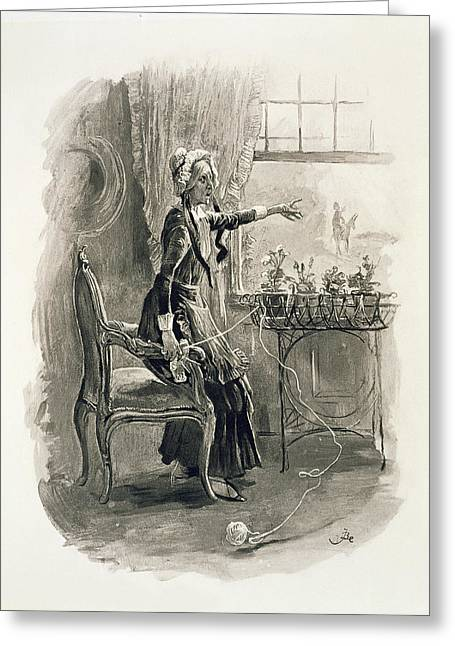 Aunts Greeting Cards - Mrs Betsy Trotwood, From Charles Greeting Card by Frederick Barnard