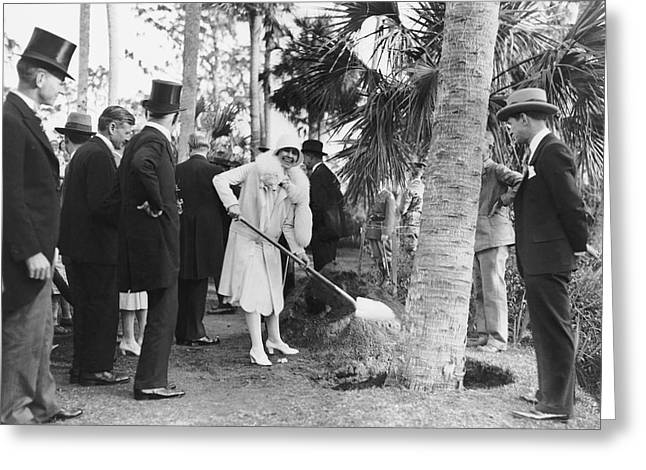 Mrs. Calvin Coolidge Planting Greeting Card by Underwood Archives
