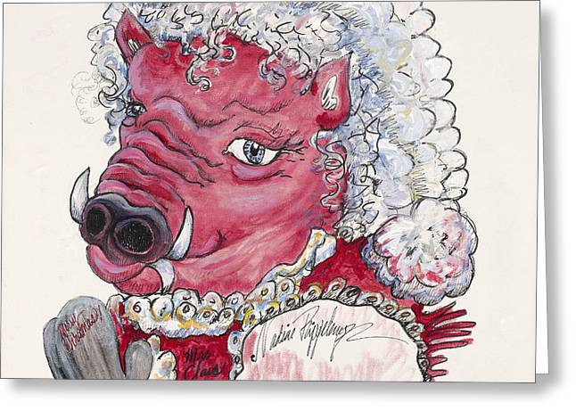 Gray Hair Mixed Media Greeting Cards - Mrs. Claus Hog Greeting Card by Nadine Rippelmeyer