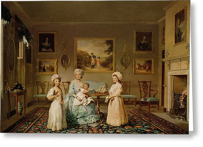 Conversation Piece Greeting Cards - Mrs Congreve And Her Children In Their London Drawing Room, 1782 Oil On Canvas Greeting Card by Philip Reinagle