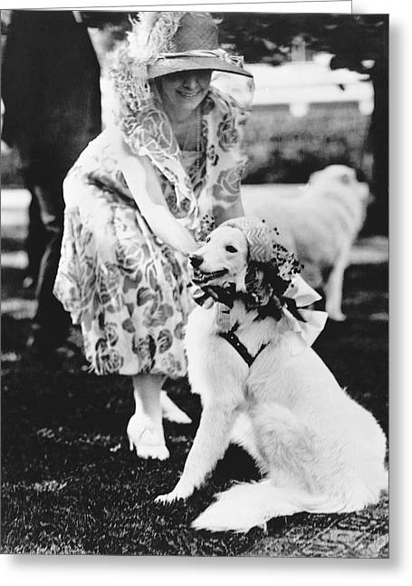 First Lady And President Greeting Cards - Mrs. Coolidge And Her Dog Greeting Card by Underwood Archives