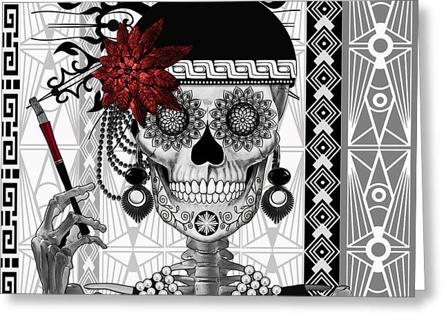 Dia De Los Muertos Art Greeting Cards - Mrs. Gloria Vanderbone - Day of The Dead 1920s Flapper Girl Sugar Skull - Copyrighted Greeting Card by Christopher Beikmann