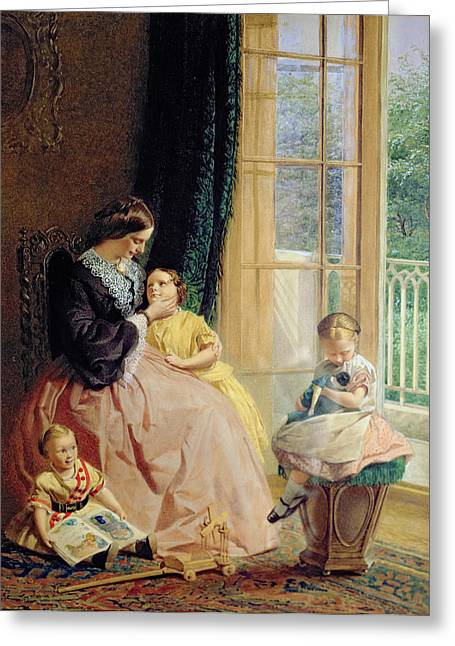 Domestic Scene Greeting Cards - Mrs Hicks Mary Rosa and Elgar Greeting Card by George Elgar Hicks