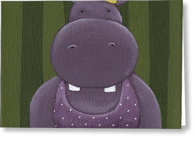 Hippos Greeting Cards - Mrs. Hippo Greeting Card by Christy Beckwith