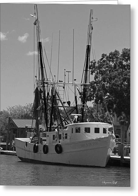 Fishing Creek Greeting Cards - Mrs Judy Too III in Black and White Greeting Card by Suzanne Gaff