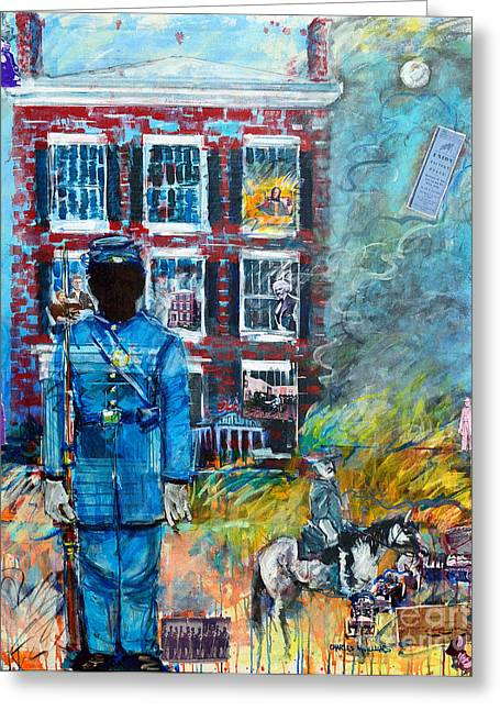 Abe Lincoln Paintings Greeting Cards - Mrs Lees Guard Greeting Card by Charles M Williams