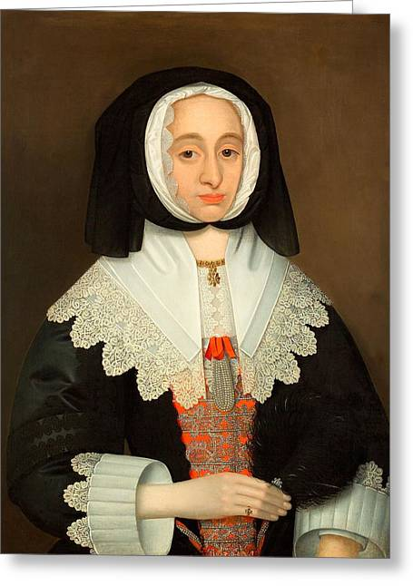 Lace Collar Greeting Cards - Mrs Lucy Hutchinson, C.1643 Greeting Card by John Souch