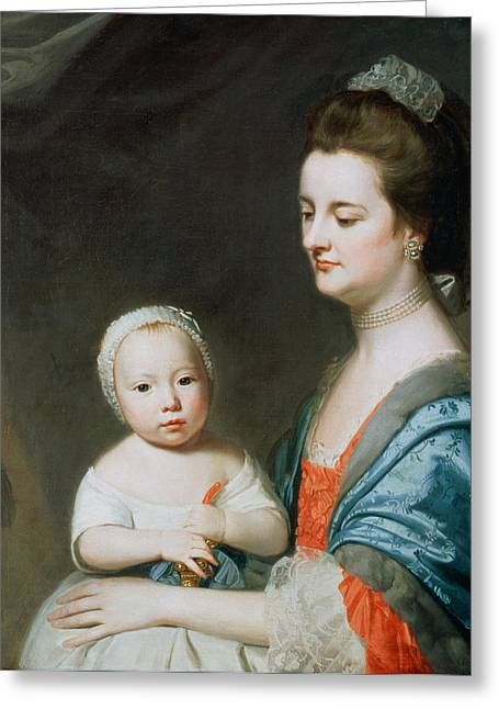 Rattle Greeting Cards - Mrs Marton And Her Son Oliver Greeting Card by George Romney
