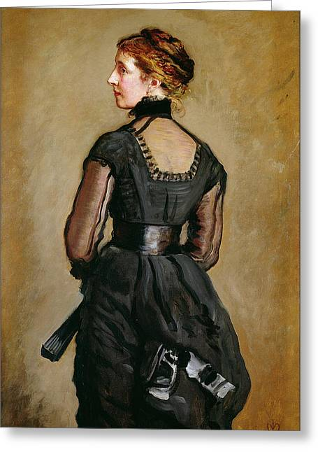 Black Greeting Cards - Mrs Perugini, Charles Dickens Second Greeting Card by Sir John Everett Millais