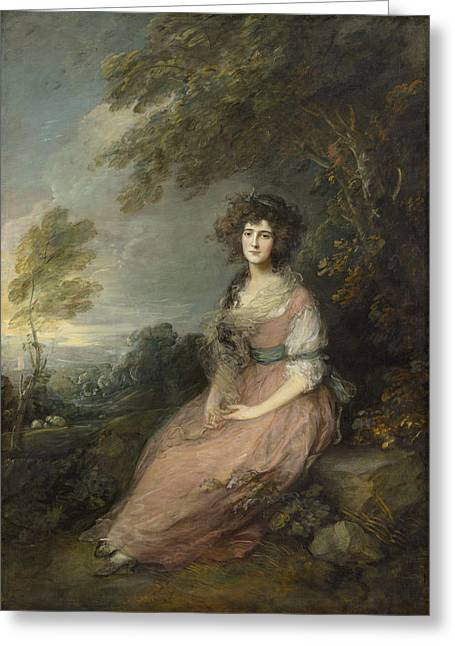 Full-length Portrait Paintings Greeting Cards - Mrs Richard Brinsley Sheridan Greeting Card by Thomas Gainsborough