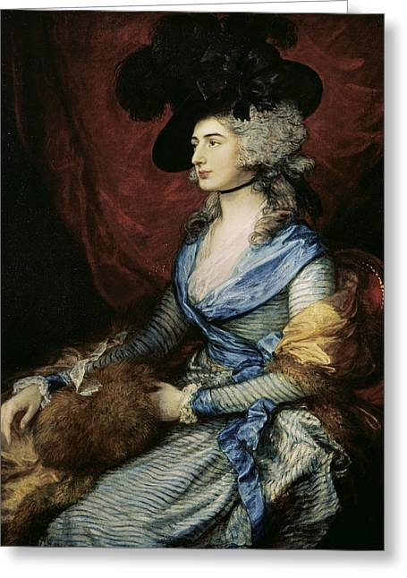 Mrs Sarah Siddons, The Actress 1755-1831, 1785 Oil On Canvas Greeting Card by Thomas Gainsborough