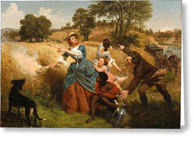 Emanuel Greeting Cards - Mrs Schuyler Burning Her Wheat Fields on the Approach of the British Greeting Card by Emanuel Gottlieb Leutze