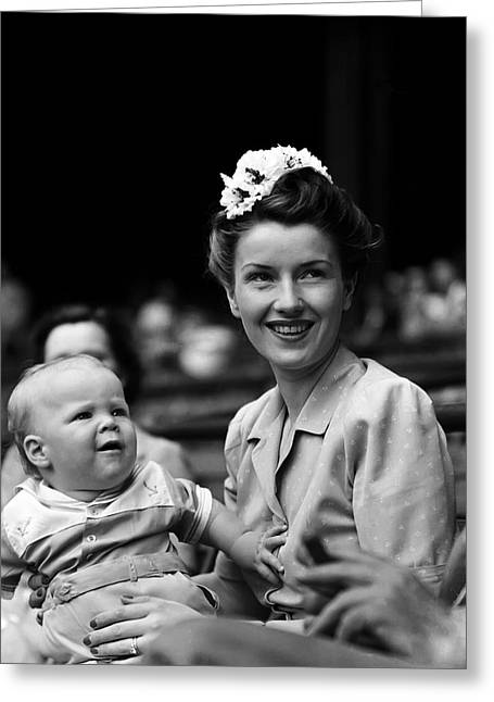 Chandler Greeting Cards - Mrs. Spud Chandler with child Greeting Card by Retro Images Archive