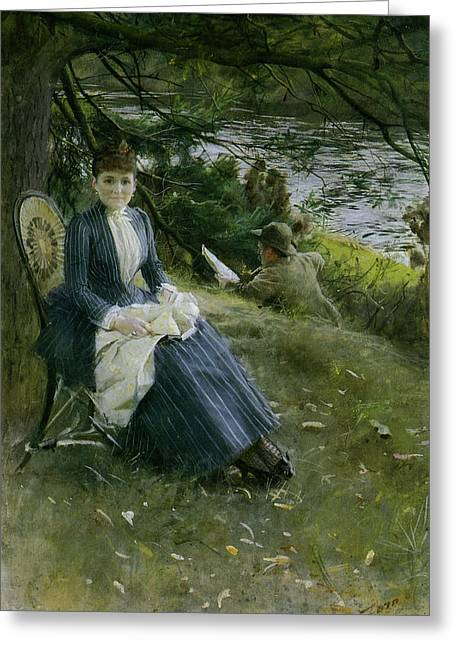Woman In A Dress Greeting Cards - Mrs symons In Scotland Greeting Card by Anders Zorn