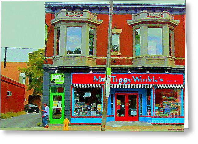 Toy Store Paintings Greeting Cards - Mrs Tiggy Winkles Toy Shop And Lost Marbles Richmond Rd The Glebe Paintings Ottawa Scenes C Spandau Greeting Card by Carole Spandau