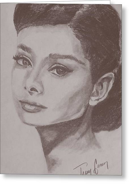 Starlet Drawings Greeting Cards - Ms. Audrey Greeting Card by Terry Ganey