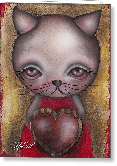 Ms. Cat Greeting Card by  Abril Andrade Griffith