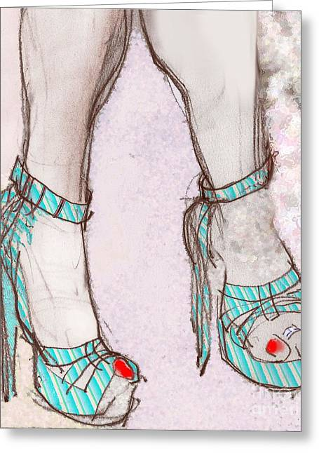 Blue High Heels Greeting Cards - Ms. Cindys Blue Shoes Greeting Card by Carolyn Weltman