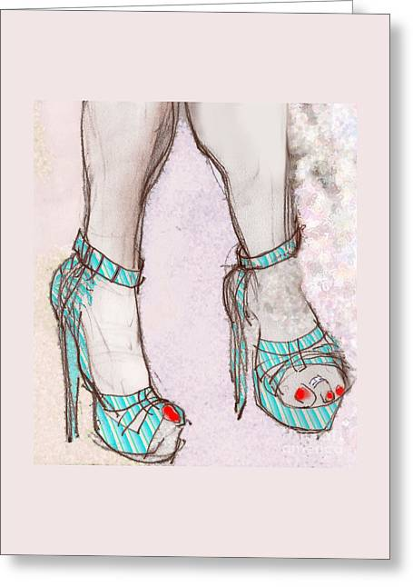 High Heeled Mixed Media Greeting Cards - Ms. Cindys Blue Shoes Greeting Card by Carolyn Weltman