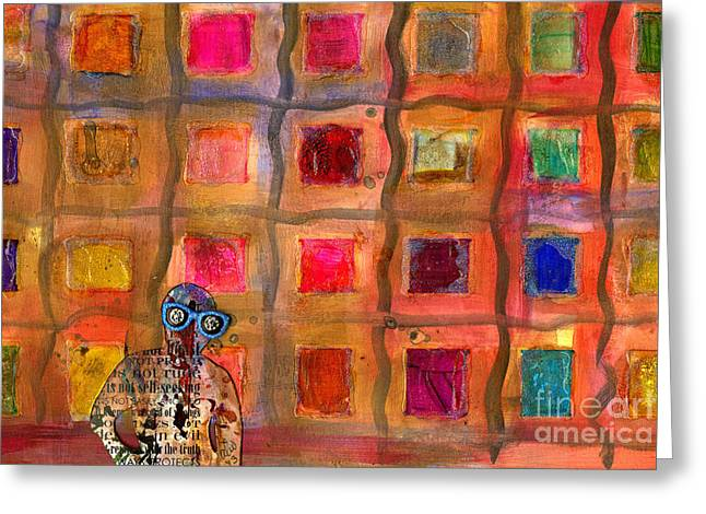 Ms Cool Goes Window Watching In Color Greeting Card by Angela L Walker