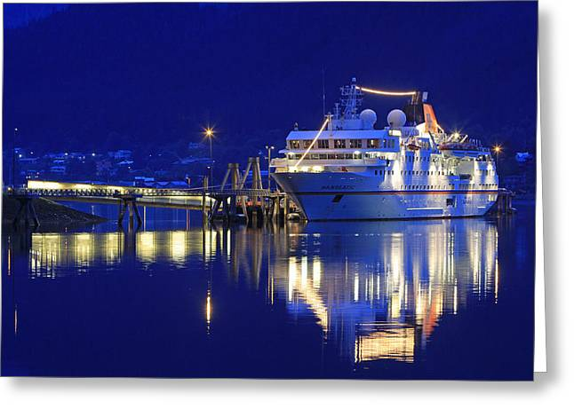 Reflection In Water Pyrography Greeting Cards - MS Hanseatic Greeting Card by Shoal Hollingsworth