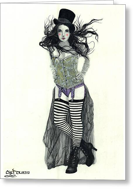Ink And Pencil Girl Drawings Greeting Cards - Ms. Madeleine Greeting Card by TP Dunn