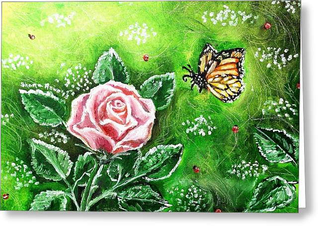 Springy Greeting Cards - Ms. Monarch and her Ladybug Friends Greeting Card by Shana Rowe