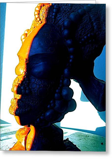 Yoga Sculptures Greeting Cards - Ms.Blue 2 Greeting Card by Donna Lee Bolden Kerr
