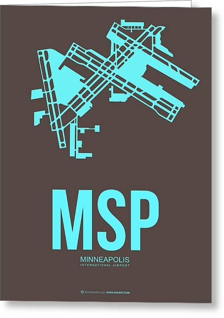 Tourists Greeting Cards - MSP Minneapolis Airport Poster 1 Greeting Card by Naxart Studio