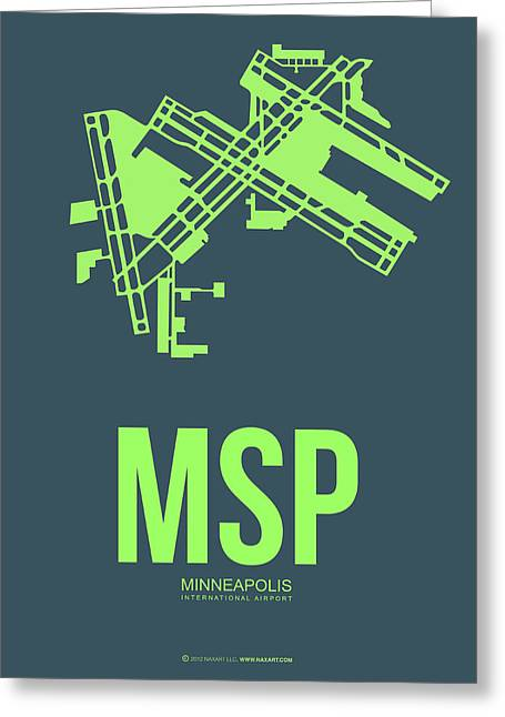 Minneapolis Greeting Cards - MSP Minneapolis Airport Poster 2 Greeting Card by Naxart Studio