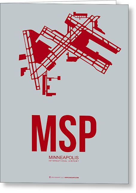 Recently Sold -  - Town Mixed Media Greeting Cards - MSP Minneapolis Airport Poster 3 Greeting Card by Naxart Studio