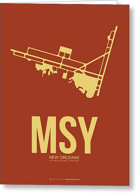 State Of Mississippi Greeting Cards - MSY New Orleans Airport Poster 1 Greeting Card by Naxart Studio